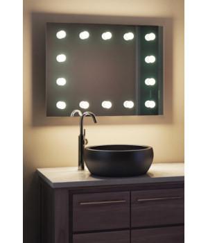 Зеркало в ванную комнату с подсветкой лампочками Мэдисон