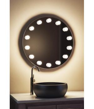 Круглое зеркало в ванную комнату с подсветкой лампочками Тринити